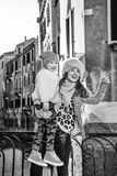 Happy mother and child travellers in Venice, Italy sightseeing Royalty Free Stock Images