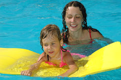 Happy mother and child in water pool Royalty Free Stock Photo