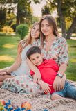 A happy mother and children are having fun in the park on a warm summer day. They`re on the lawn in the park. A happy mother and children are having fun in the royalty free stock photography