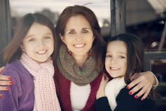 Happy mother with childs smiling Royalty Free Stock Photos