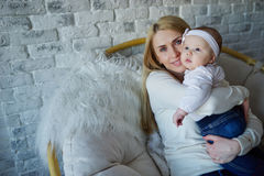 Happy mother with cute baby. Photo of happy mother with cute baby Royalty Free Stock Images