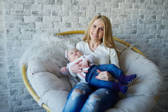 Happy mother with cute baby. Photo of happy mother with cute baby Stock Images