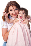 Happy mother and daughter. Studio shot royalty free stock photo