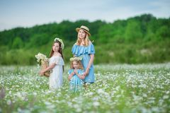 Happy mother and daughter child together with yellow dandelion flowers in summer day enjoy vacation free time together happy royalty free stock images