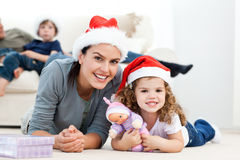 Happy mother and daughter at christmas Royalty Free Stock Images