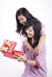Happy Mother and Daughter with Christmas Gift. Happy family of mother and daughter opening a gift box Stock Image