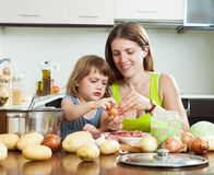 Happy mother with daughter cooking Stock Images