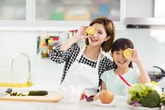 Mother and daughter cooking in the kitchen Royalty Free Stock Photo