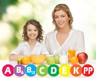 Happy mother and daughter eating breakfast. People, healthy lifestyle, family and food concept - happy mother and daughter eating healthy breakfast over green Royalty Free Stock Photos