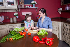 Happy mother and daughter enjoy making and having healthy meal together at their kitchen. Royalty Free Stock Photo