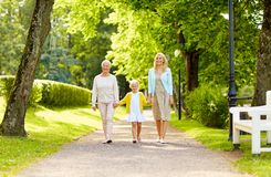 Happy mother, daughter and grandmother at park Stock Images