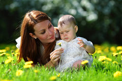 Mother and daughter on the green grass Royalty Free Stock Photography
