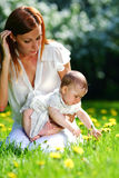 Mother and daughter on the green grass Royalty Free Stock Image
