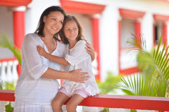 Happy mother and daughter hugging Stock Photography