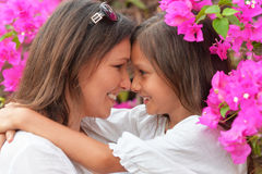 Happy mother and daughter hugging Royalty Free Stock Photo