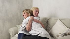 Happy mother and daughter stock footage