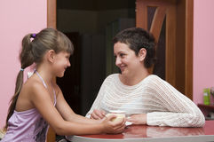 Happy mother and daughter indoor Stock Image