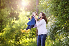 Happy mother and daughter in nature Royalty Free Stock Photo