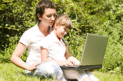 Happy mother and daughter outdoor Royalty Free Stock Image
