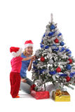 Happy mother and daughter over christmas tree 6 Royalty Free Stock Photo