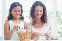 Happy mother and daughter painting easter eggs Royalty Free Stock Photo