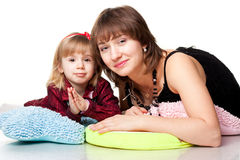 Happy mother and daughter playing Royalty Free Stock Photos