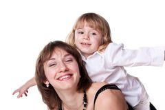 Happy mother and daughter playing Stock Image