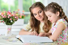 Mother and daughter reading Royalty Free Stock Image