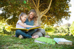 Happy mother and daughter reading a book at park Stock Images