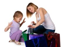 Happy a mother and daughter with shopping bags Stock Photo