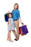 Happy a mother and daughter with shopping bags Stock Image