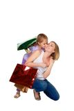 Happy a mother and daughter with shopping bags Royalty Free Stock Images
