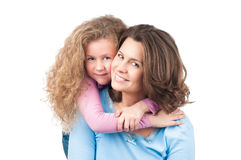 Happy mother and daughter smiling Stock Photo