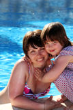 Happy mother and daughter beside a swimming pool Stock Image