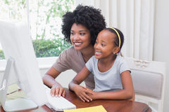 Happy mother and daughter using the computer Royalty Free Stock Images