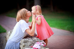 Happy mother and daughter on vacations Stock Images
