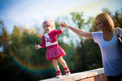 Happy mother and daughter on vacations Royalty Free Stock Images