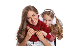 Happy Mother and daughter at winter isolated Stock Images