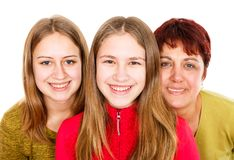 Happy mother with daughters. Portrait photo of happy mother with daughters Royalty Free Stock Photography