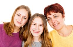 Happy mother with daughters. Portrait photo of happy mother with daughters Royalty Free Stock Images