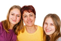 Happy mother with daughters. Portrait photo of happy mother with daughters Stock Photo