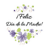 Happy Mother Day banner decorated hand drawn meadow flowers. Lettering title in Spanish Stock Photo