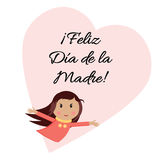 Happy Mother Day banner with little hugging girl on the heart shape. Lettering title in Spanish Stock Photography