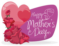 Happy; mother; day; bouquet; floral; flower; rose; sign; heart; love; symbol; in line; cartoon; postcard; poster; greeting; card; Stock Images