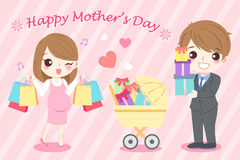 Happy mother day. Cute cartoon happy mother day for your concept Royalty Free Stock Photo