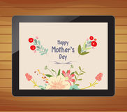 Happy mother day with floral on tablet. Happy mother day greeting card with flower Stock Photos