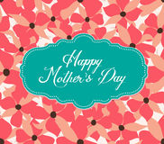Happy mother day with flower label Royalty Free Stock Photos