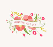 Happy mother day with flower label Stock Photography