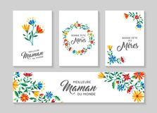 Happy Mother day french floral card and label set. Happy mothers day flower greeting card and label set in french language with beautiful spring flowers, nature vector illustration