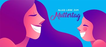 Happy mother day german banner of girl and mom. Happy Mothers Day illustration in german language, beautiful mom face smiling with little daughter. Horizontal Stock Photography